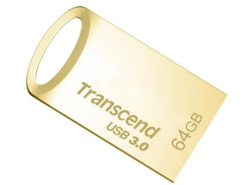 64GB USB3.0 Transcend JetFlash 710 Gold, Metal Case, Ultra-Small (Read 90 MByte/s, Write 12 MByte/s)